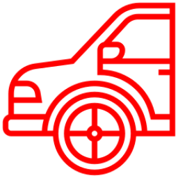 An icon depicting a car with a new tyre.