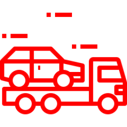 An icon depicting a car getting towed by a truck.